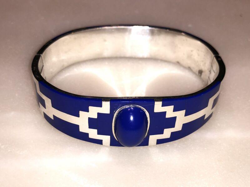 Beautiful Blue Lapis Inlay Bracelet, Heavy 73 GRAMS