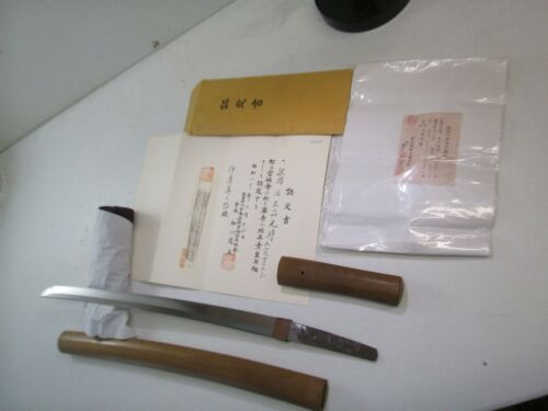 OLD JAPANESE SAMURAI wakisashi SWORD IN SHIRSAYA SIGNED WITH NBTHK PAPERS MINTY