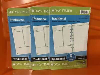 Qty. 3 - Day-timer Two Page Per Day Refill 2 Months Undated Loose-leaf 5.5