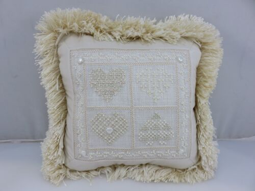 HEARTS LOVE FRIENDSHIP Embroidered & Beaded Pillow HANDMADE Completed
