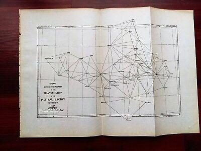 1887 Map of Progress of Triangulation in Plateau Region Cottonwood Tulcroso