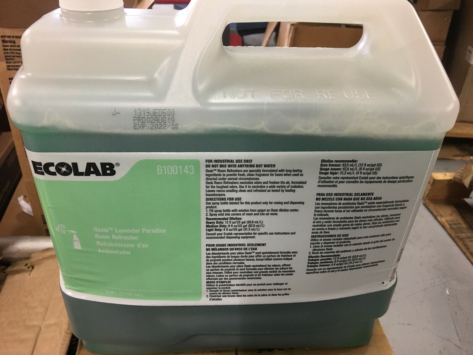 Ecolab 6100143 Oasis Lavender Paradise Room Refresher Air Deodorizer- 2.5 Gallon - $179.99