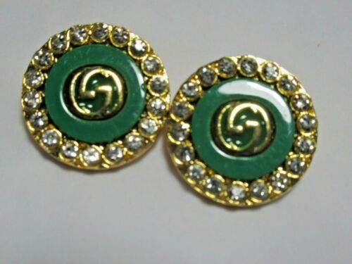Gucci 2 buttons GREEN,  gold tone G 19 mm  BUTTONS THIS IS FOR 2