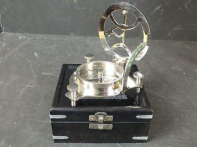 Vernickelter Peil Kompass tarierbar in Box Justierb. Arretierbar Navigation Navi