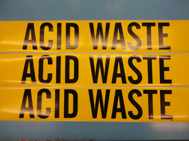 "3 Count, ""ACID WASTE"", 4"" x 24"" Brady Decal Sticker, Vinyl Pipe Marker 7004-1HV"