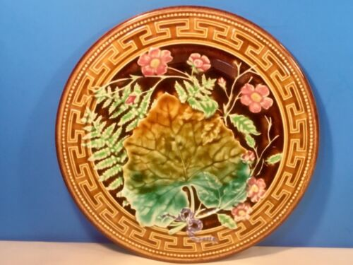 Plate Antique French Majolica Ferns, Leaves & Flowers Plate  c.1800