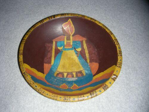 "Hand Painted Wood Wooden Bowl by Munising 9"" Diameter"