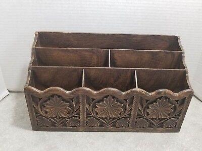 Vintage Lerner Faux-wood Letter Holder Desk Organizer
