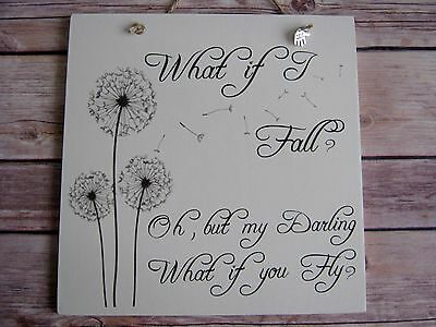Handmade Wall Plaque Inspirational Disney Quote Gift What if I fall.. Friend Gif