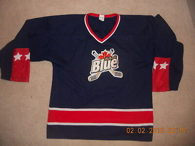 Labatt Blue Beer Hockey Jersey Classic Colors USA Blue Rd White Athletic Knit XL