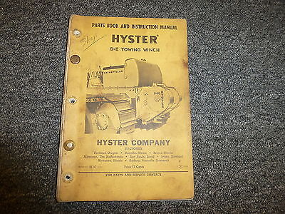 Hyster D4e Towing Winch For Cat D4 Tractor 955 933 Parts Catalog Owner Manual