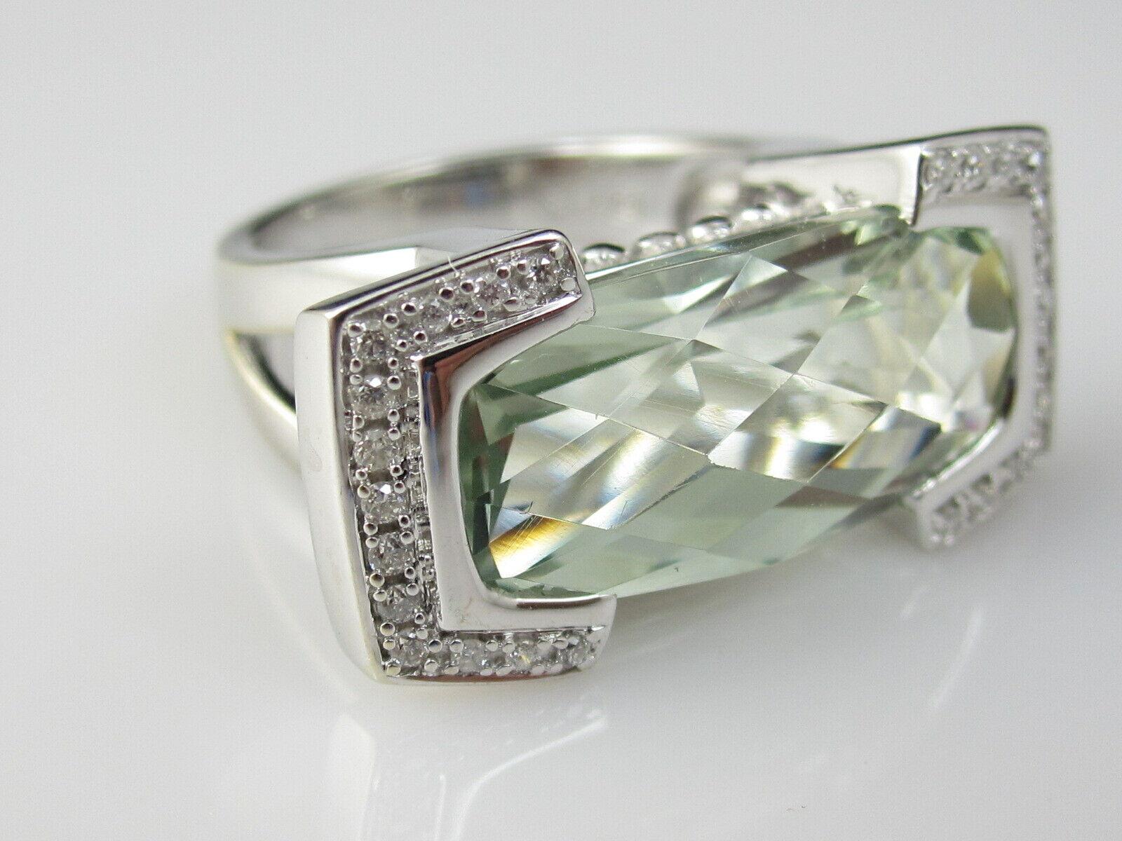 Green Amethyst Diamond Ring 14K White Gold Contemporary Modern Checkerboard Cut - $495.00