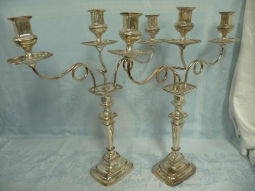 "ELEGANT ANTIQUE PAIR SILVER PLATE GEORGIAN STYLE 3 CANDLE CANDELABRA, 22"" TALL!!"