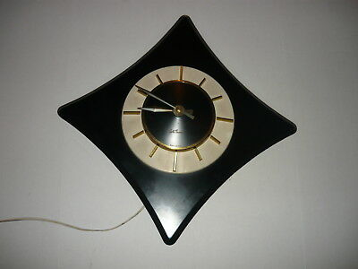 "BLACK &  WHITE,VINTAGE  ART DECO, SETH THOMAS, ELECTRIC 21"" WALL CLOCK ,GOLD"