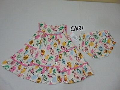 NEW 6-9 MONTH BABY GIRL SUN DRESS-OUTFIT-LITTLE WONDERS PINEAPPLES