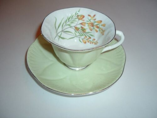 Shelley Fine Bone China Cup & Saucer Pale Green Yellow Flowers Gold Trim