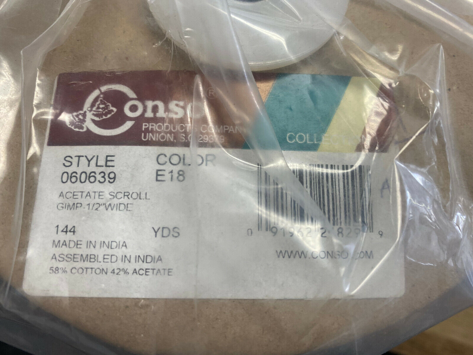 Conso 1/2″ 58% Cotton 42% Acetate Scroll Gimp Chocolate – 144 Yard Roll Closures & Connectors