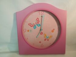 Large Pink Wood Wall Clock Butterfly Design Quartz Movement Over 12
