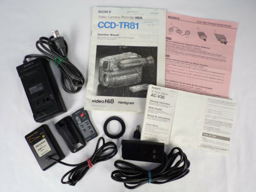 Sony Handycam Accessory Lot: Manual CCD-TR81,Remote VTR, A/C Adapter AC-V30,MORE