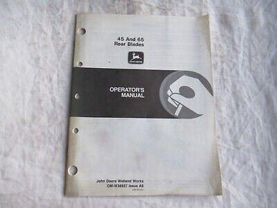 John Deere 45 65 Rear Blade Operators Manual