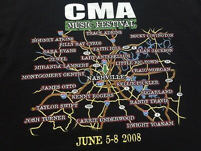 Country Music Awards Cma June 5 8 Nashville Singer Highway Map Adult T Shirt 2Xl
