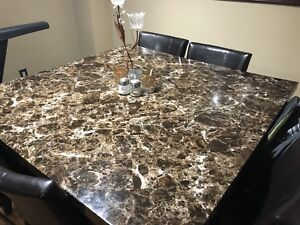 Marble brown dining set