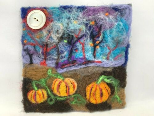 OOAK Needle Felted Halloween Fall Picture Pumpkin Patch FREE SHIPPING