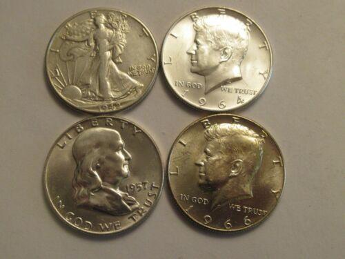 Lot of 4 US Silver Half Dollars, 1942 Walker, 1957 Franklin, 1964 & 66 Kennedy