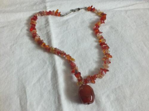 "Beautiful Necklace Silver Tone Clasp Orange Beige Glass Beads 16-18"" +1"" Pendant"