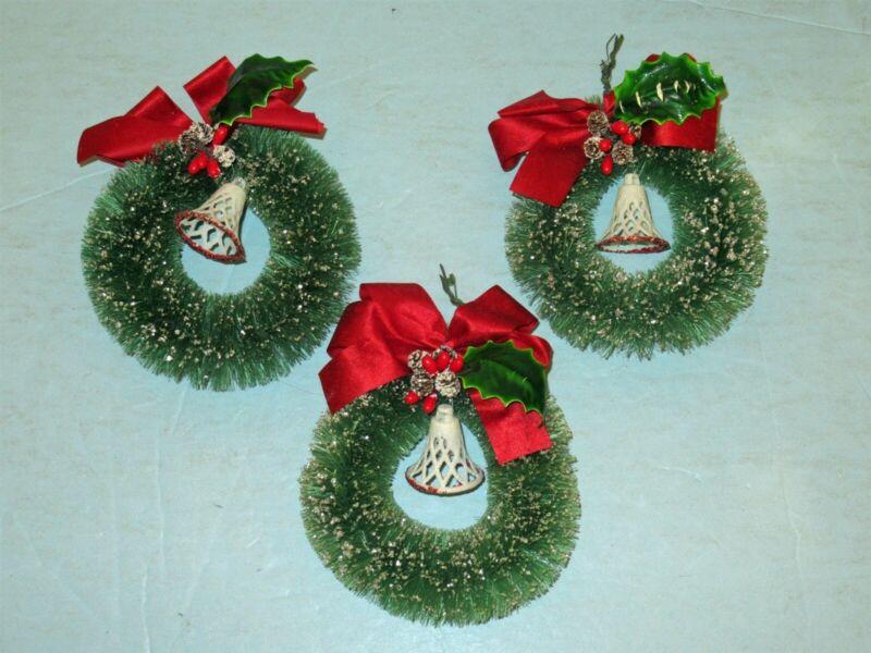 """Vtg Lot 3 Xmas 4.5"""" Bottle Brush Embellished Wreaths w Holly & Mica Bells"""