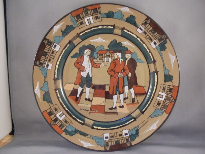 "Antique Buffalo Pottery Deldare Ware Dinner Plate Ye Village Gossips 10"""