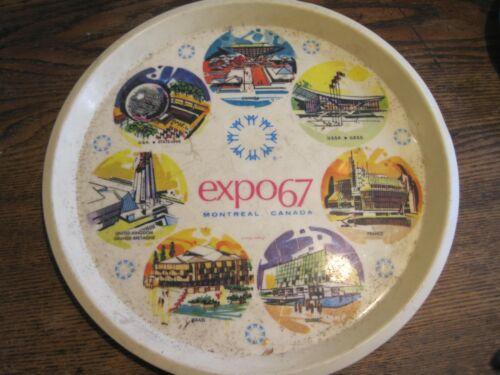 EXPO 67 MONTREAL CANADA RETRO ATOMIC ROUND PLASTIC TRAY