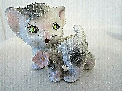 "Vtg Japan grey & white spot spaghetti sugar kitty cat figurine 2.25"" collectible"
