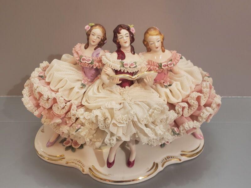"DRESDEN LACE PORCELAIN FIGURINE 3 LADIES SINGING WOMEN SINGERS GERMANY 6 X 8"""