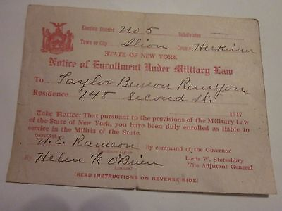 WWI 1917 Notice of Enrollment Under Military Law NEW YORK State Ilion, Herkimer