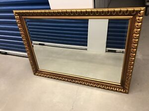 Antique wooden frame bevelled  mirror
