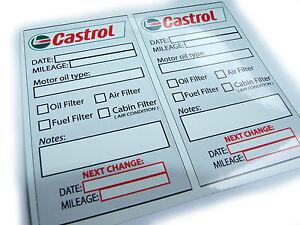 castrol oil change service reminder stickers 2 stickers decals ebay. Black Bedroom Furniture Sets. Home Design Ideas