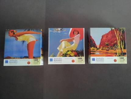 3 x 1000 PC JIGSAW PUZZLES - AUSTRALIAN VINTAGE TRAVEL IMAGES Glen Iris Boroondara Area Preview