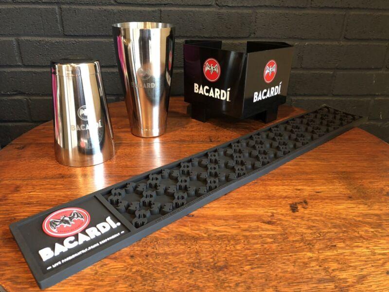 Bacardi Rum Bar Set Rail Mat Shaker Tin Napkin Holder