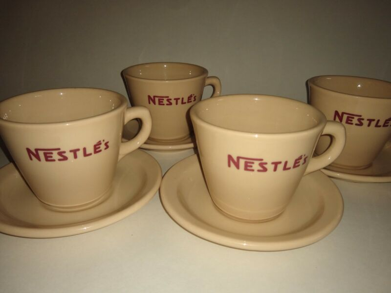NESTLES Cocoa Set Lot 4 Mugs & Saucers Inca Ware SHENANGO China 6oz Coffee Mugs
