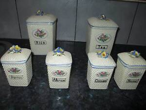 Retro / Vintage set of 6 x kitchen canisters Golden Grove Tea Tree Gully Area Preview