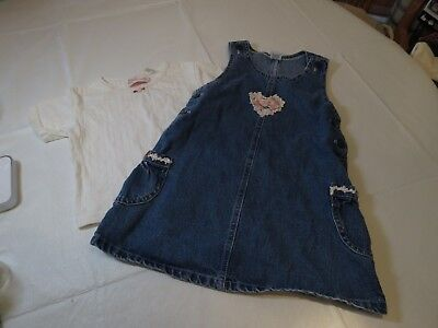 Sweet Innocence 4T overall set shirt spring heart denim Girl's youth dress SPOTS - Denim Overall-set