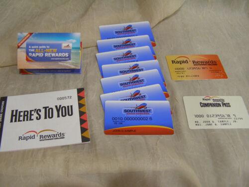 Southwest Airlines Rapid Rewards Sample Drink Coupon Book & Plastic Cards