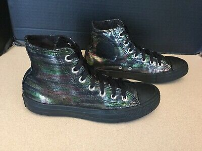 "Womens Converse Chuck Taylor ""Rainbow Shimmer"" High Top Shoes. Size 8. Nice!"