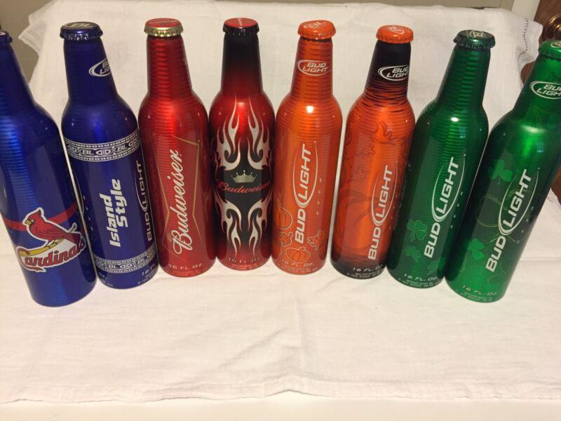 8 Bud/Bud Light Aluminum Bottles