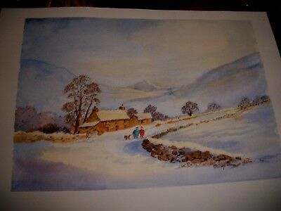 Original watercolour/ink, winter landscape, dog walkers in snow, signed,