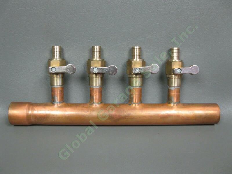 "NEW 4-Port 1"" Copper Plumbing Manifold Sweat 11"" Pipe Brass Ball Valves NSF-61-G"