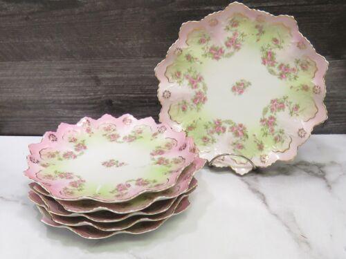 """Set 6 M&Z Austria Pink Floral Roses Pink Gold Molded 8.5"""" Dessert Plates"""