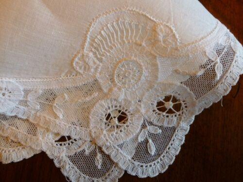 Charming Antique Bridal Princess Tape Lace Handmade Wedding Marriage Hanky