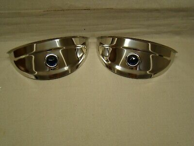 """polished stainless steel head light visors with blue jewel 7 inch visors 7"""" lids"""